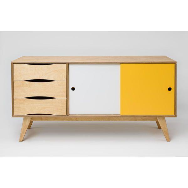 Sideboard-Kommode SoSixties in Holz, gelb & weiß - für Esszimmer im ...