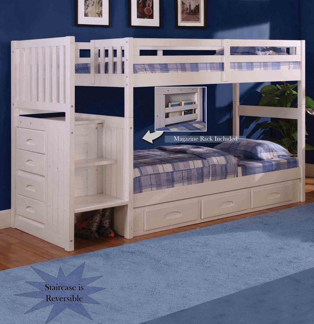 Loft bed bedroom  Discovery World Furniture White Staircase Bunk Bed TwinTwin Stair