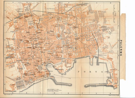 1911 Palermo Sicily Italy Antique Map Products Sicily Palermo