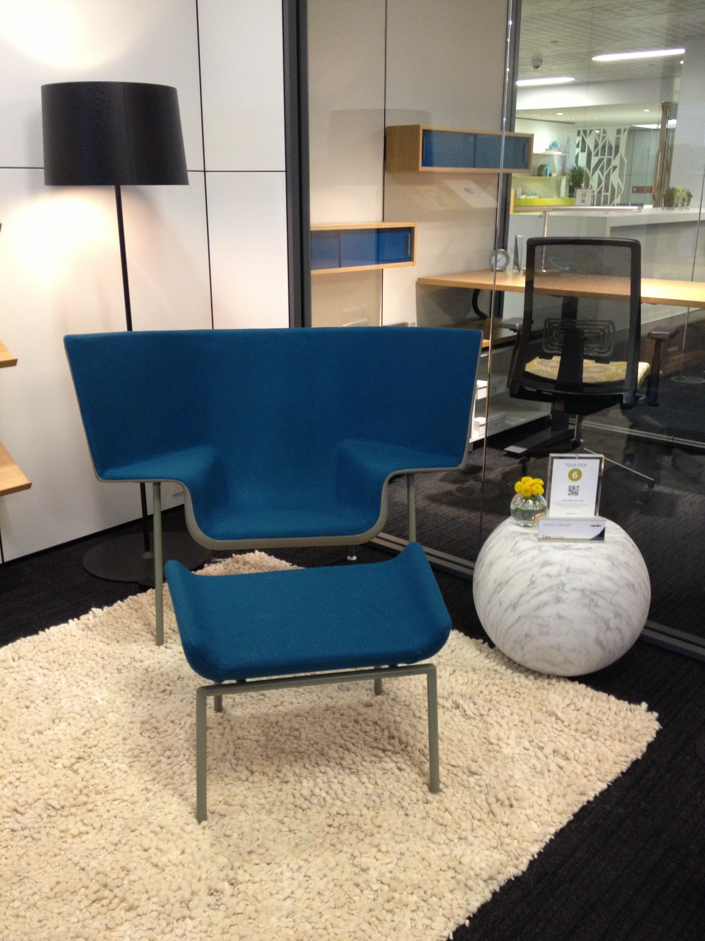 Haworth Showroom Cappellini Capo Chair And Ottomon Bong Fiberglass Side  Table