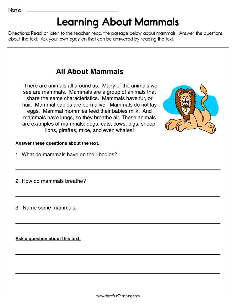Learning about Mammals Worksheet   Kindergarten worksheets [ 1294 x 1000 Pixel ]