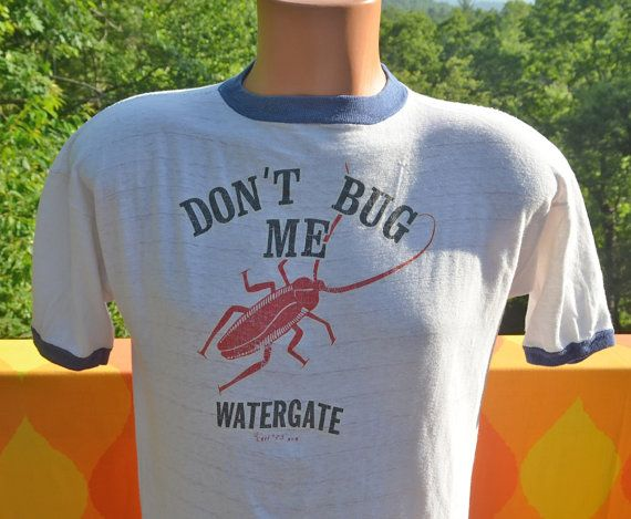 vintage 1973 t-shirt WATERGATE scandal nixon don't bug me NSA ringer tee  Medium funny politics 70s