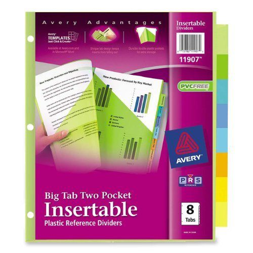 Avery Big Tab Two-Pocket Insertable Plastic Dividers, 8