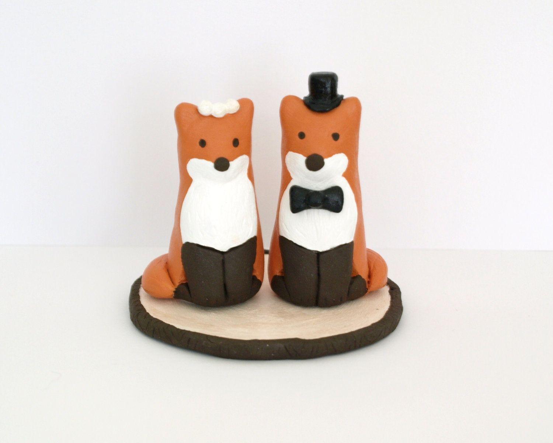 Wedding Cake Topper - Bride and Groom Fox - Clay Animal Figures ...