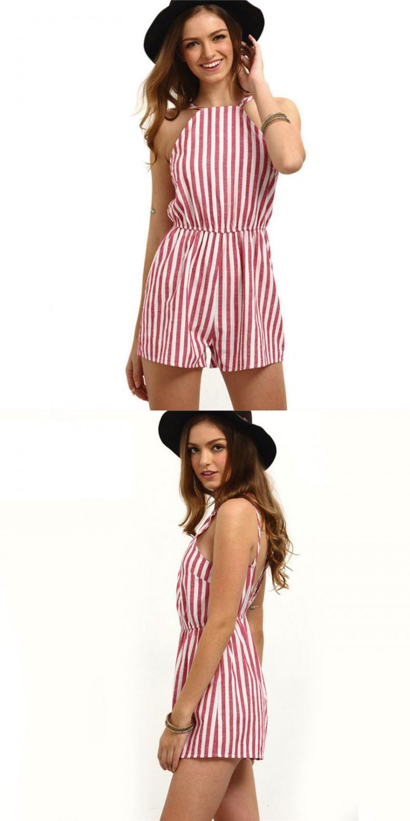 426ecbf8f47 Elegant ladies striped jumpsuit women summer sleeveless beach sexy rompers  womens casual bodycon halter jumpsuits short  yl5  casual  striped   playsuits ...