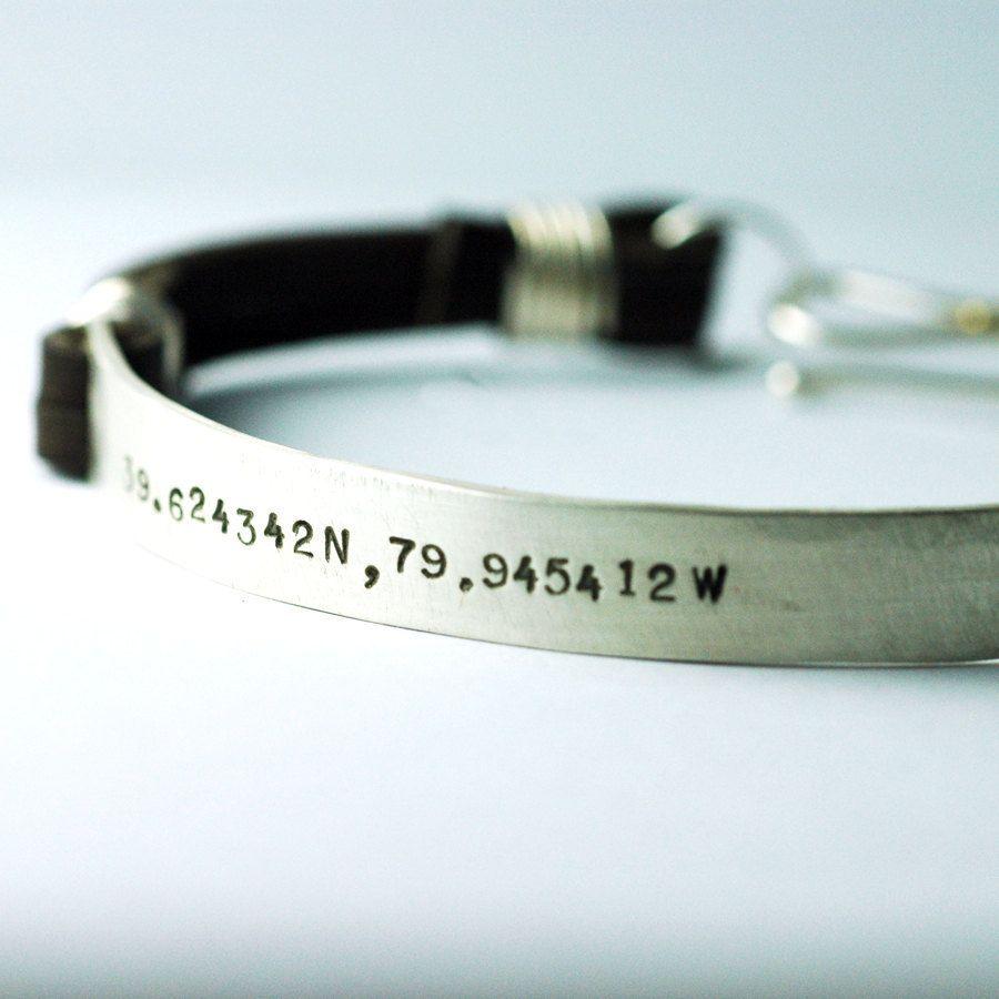 Leather Cuff Bracelet For Men Laude Longitude Custom Personalized Jewelry Him Original Studio Jewel Design Groom Gift 164 00 Via Etsy