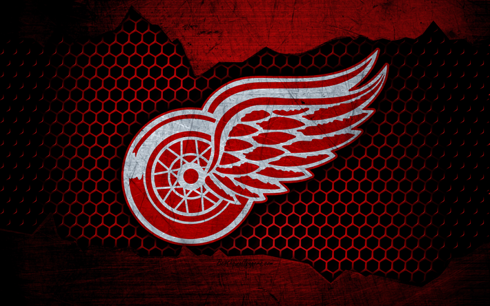 Download Wallpapers Detroit Red Wings 4k Logo Nhl Hockey Eastern Conference Usa Grunge Metal Texture Atlantic Division Besthqwallpapers Com Detroit Red Wings Red Wings Detroit
