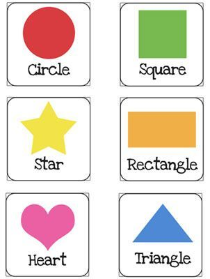 Zany image with printable shapes flash cards