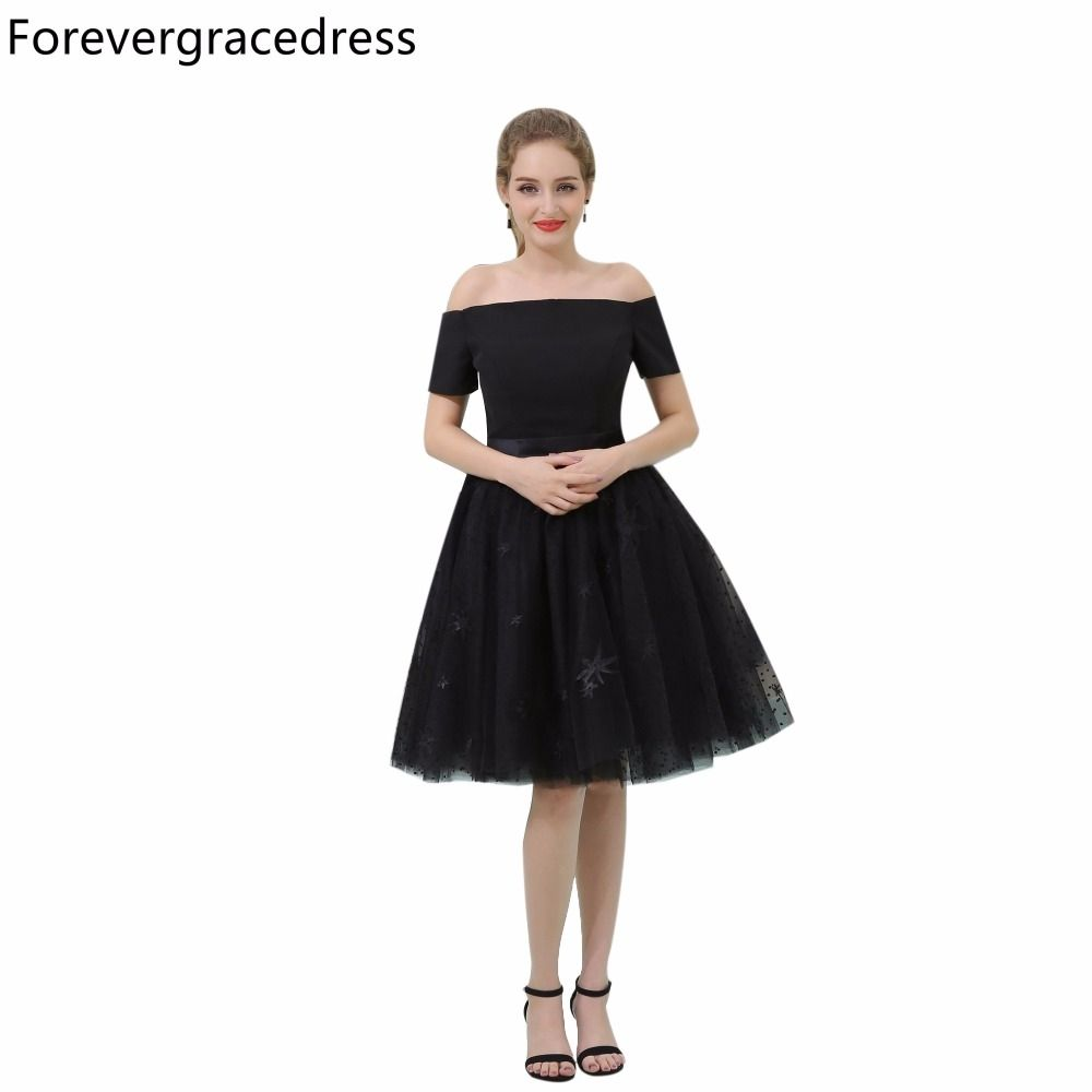 Forevergracedress real picture black cocktail dress fashion off the