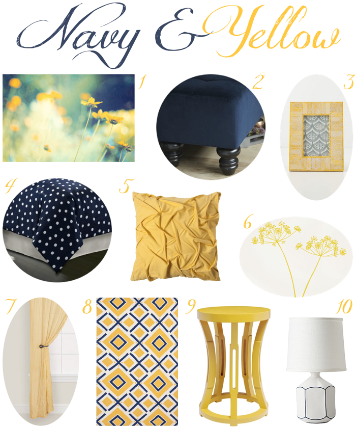 Navy and Yellow Bedroom Decor - love this color combination too ...