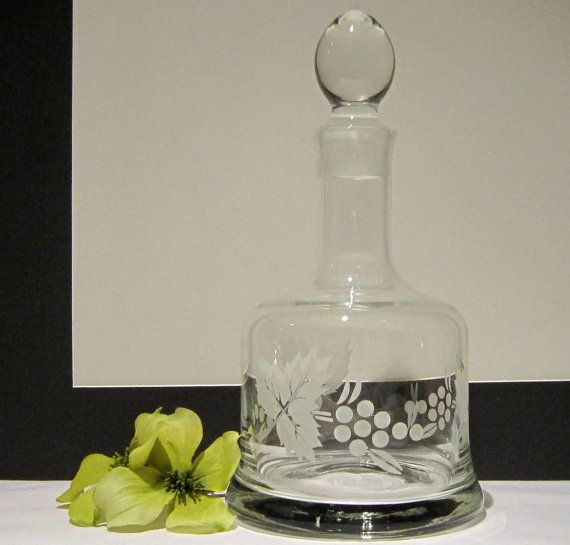 Etched Glass Decanter with Grapes and Leaves via Etsy