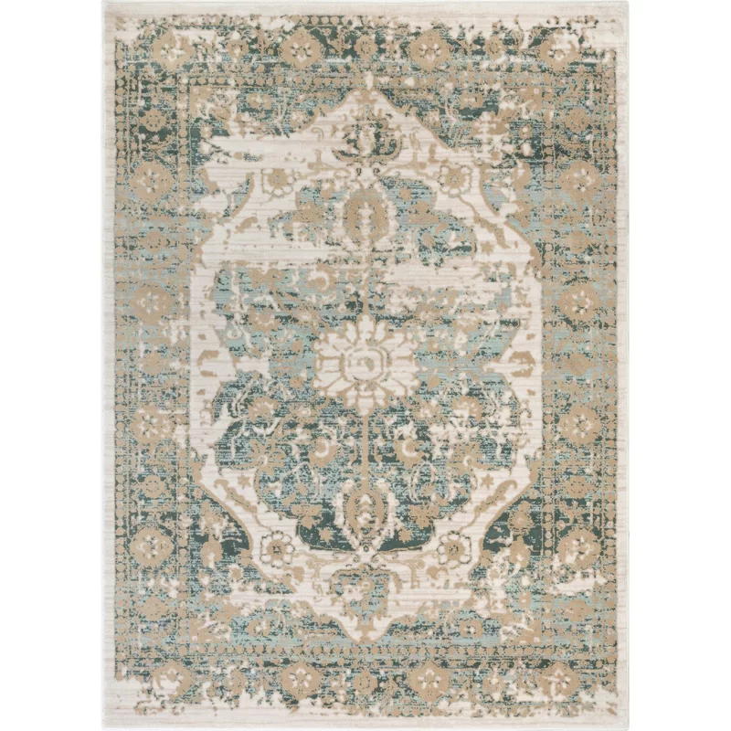 Aya Distressed Vintage Medallion Blue Beige Area Rug Area Rugs