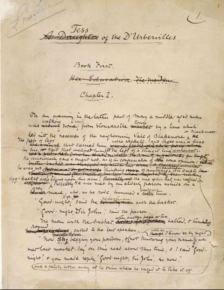 "Thomas Hardy, manuscrit de ""Tess of the Urbervilles"" (1891) - British Library"