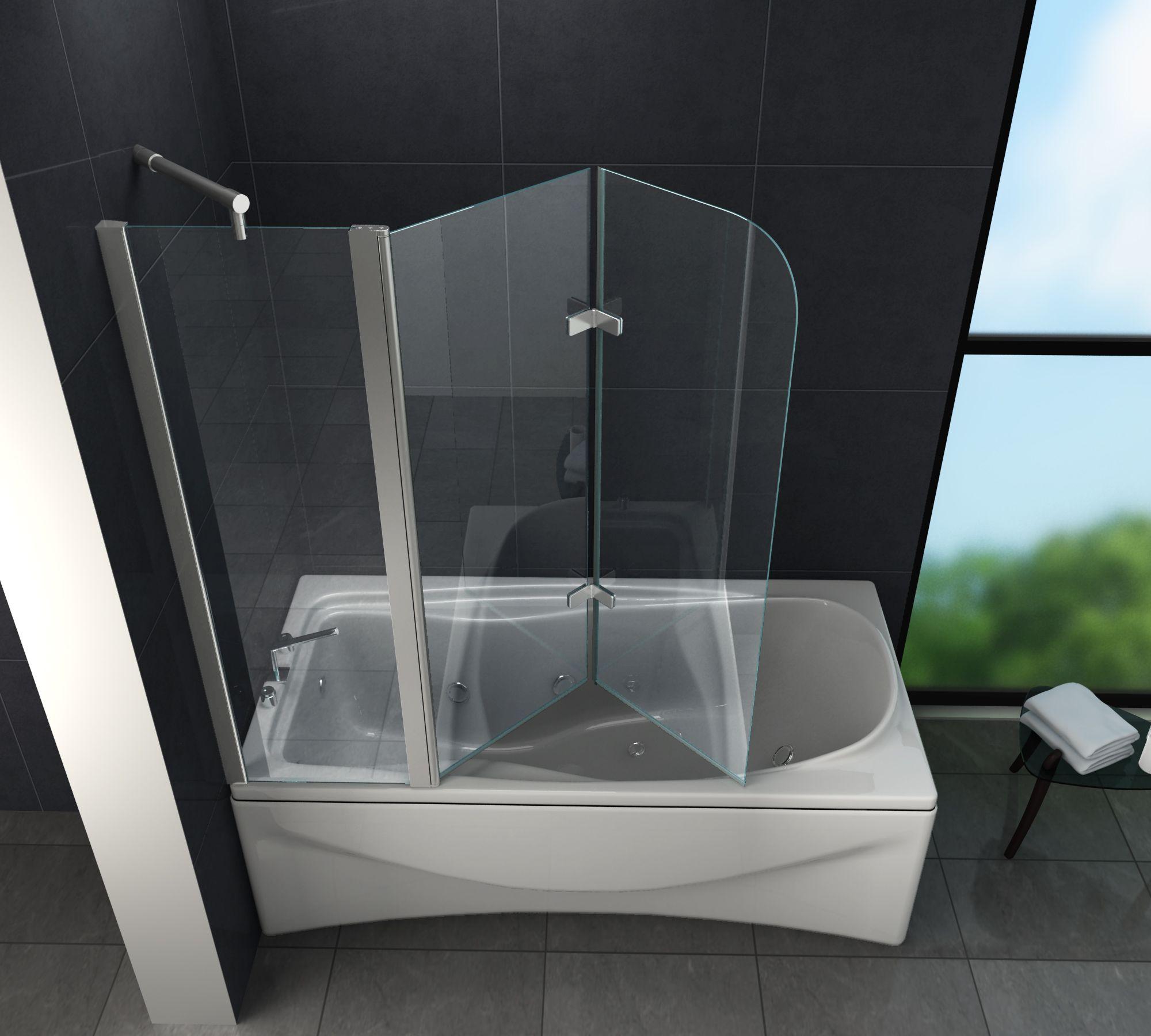 Duschtrennwand Triple 150 X 140 Badewanne Duschtrennwand Dusche Duschabtrennung