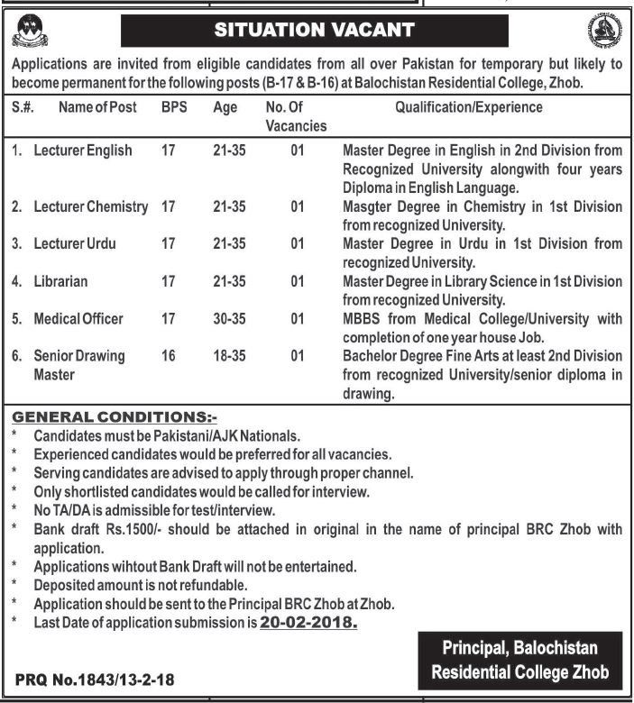 Balochistan Residential College Jobs  In Zhoab For Lecturers
