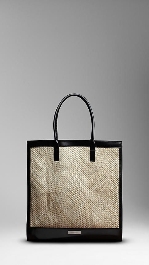 3868d043078 BURBERRY LARGE LEATHER DETAIL WOVEN TOTE Retail Bags, Fashion Catalogue,  Luxury Branding, Bag