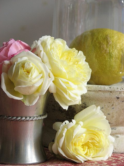 pale yellow roses in a silver cup
