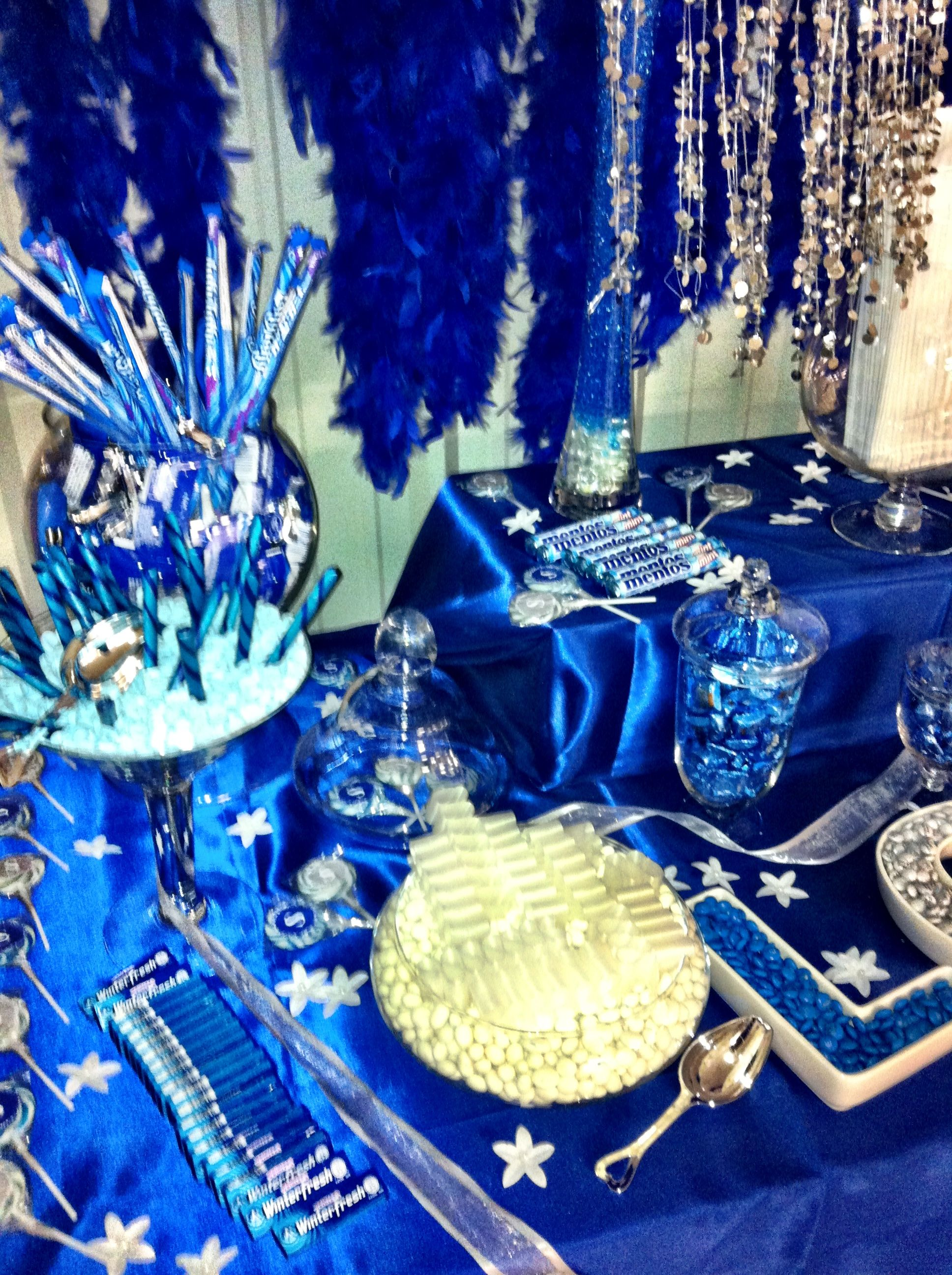 Blue White Silver Candy Buffet Used For My Wedding Blue