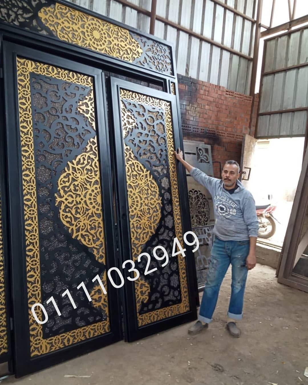 بوابه حديد قص ليزر لاحد عملائنا بالنزهه الجديده Wood Doors Interior Luxury Kitchen Modern Wood Doors
