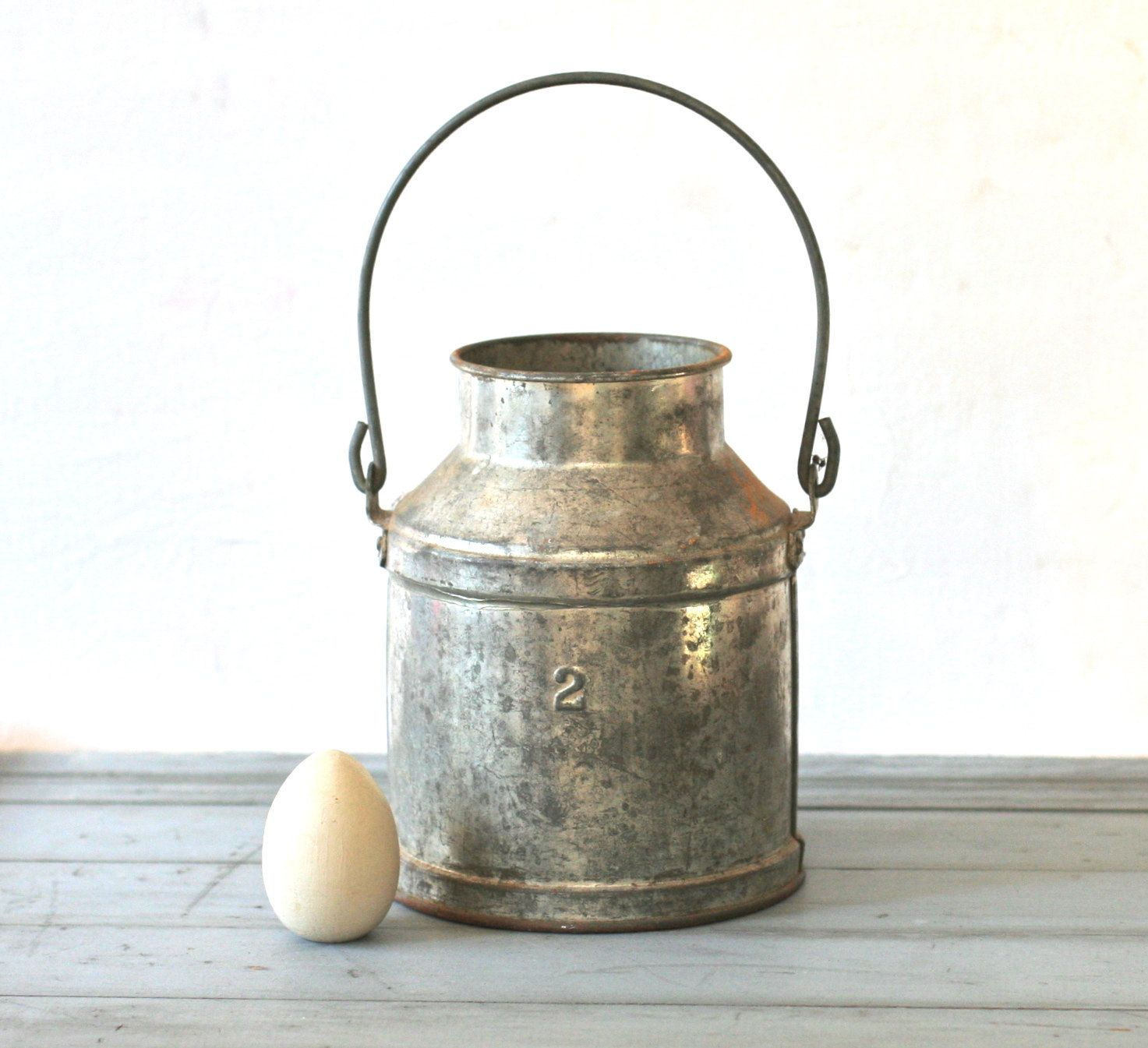 Vintage rustic galvanized handled metal milk pail by for Rustic galvanized buckets