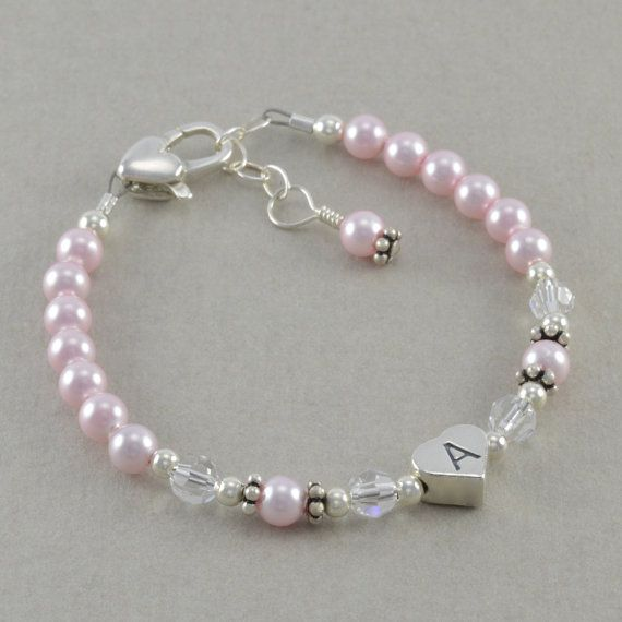 Pink Pearl Bracelet little girls jewelry 1st birthday flower girl