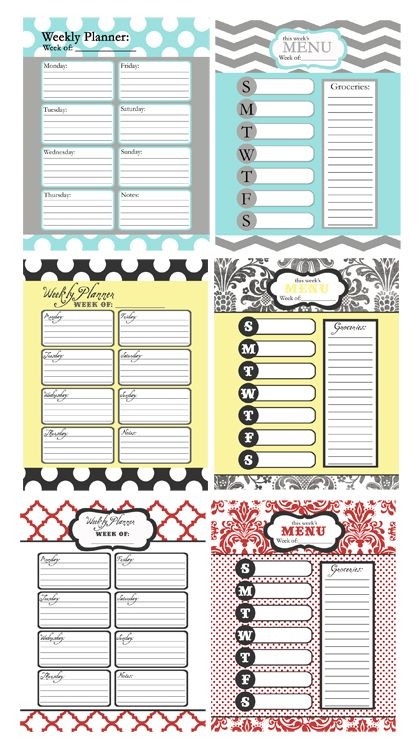 Poppy Seed\u0027s New Calendars  a Giveaway Menu planners, Planners