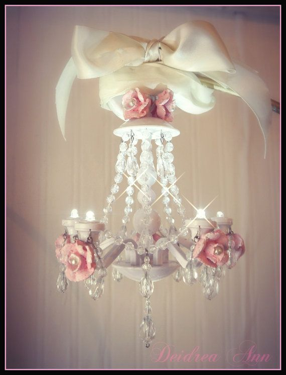 Mini Chandelier Petite Glamper Vintage Trailer Led Battery Operated Shabby Chic Pink Rose