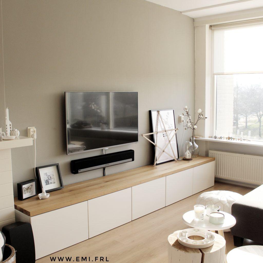 Mijn Tv Meubel Ikea Besta Hack Met Eikenhouten Plank Emi Frl  # Ikea Meuble Tele Caisson
