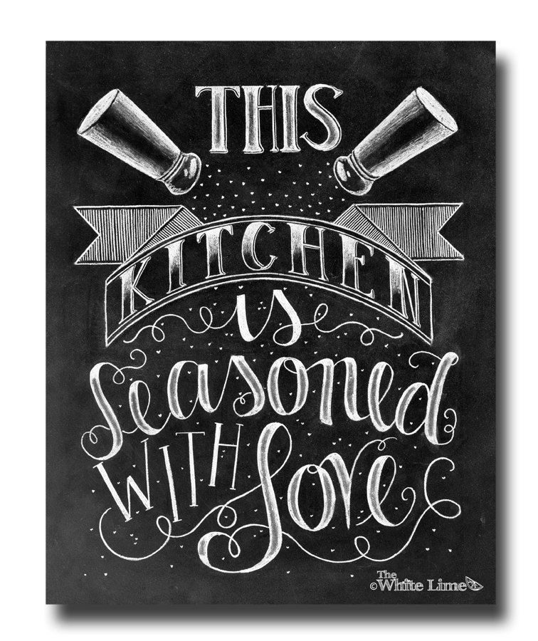 Delicieux Kitchen Decor, Kitchen Art, Kitchen Sign, Kitchen Print, Chalk Art, Kitchen  Chalkboard Sign, Kitchen, Chalkboard Art, Seasoned With Love By  TheWhiteLime On ...