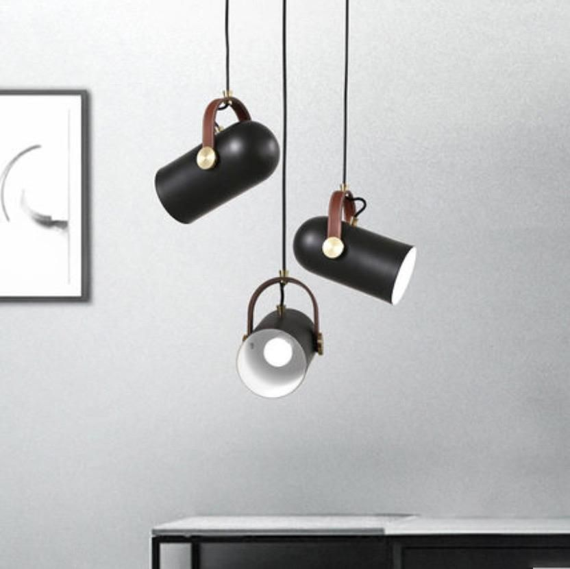 Black Spotlight Leather Strap Pendant Light 60w Ceiling