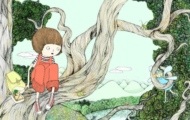 In the tree with the fairy. Illustration by Maria Nilsson