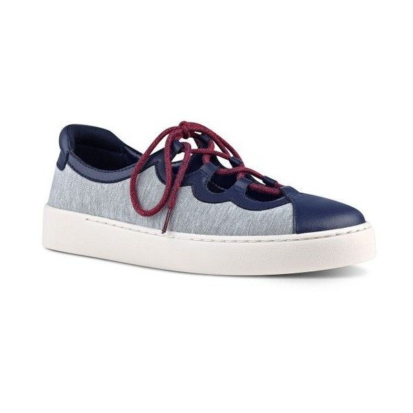 Women's Nine West Pylot Lace-Up Sneaker (1.184.815 IDR) ❤ liked on Polyvore featuring shoes, sneakers, grey stretch fabric, lace up sneakers, grey shoes, nine west, laced up shoes and stretch fabric shoes