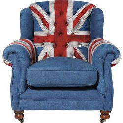 Arm Chair Grandfather Union Jack by KARE Design #armchair #chair #granny #grandfather #unionjack #union #jack #british #flag #jeans #KARE #KAREDesign