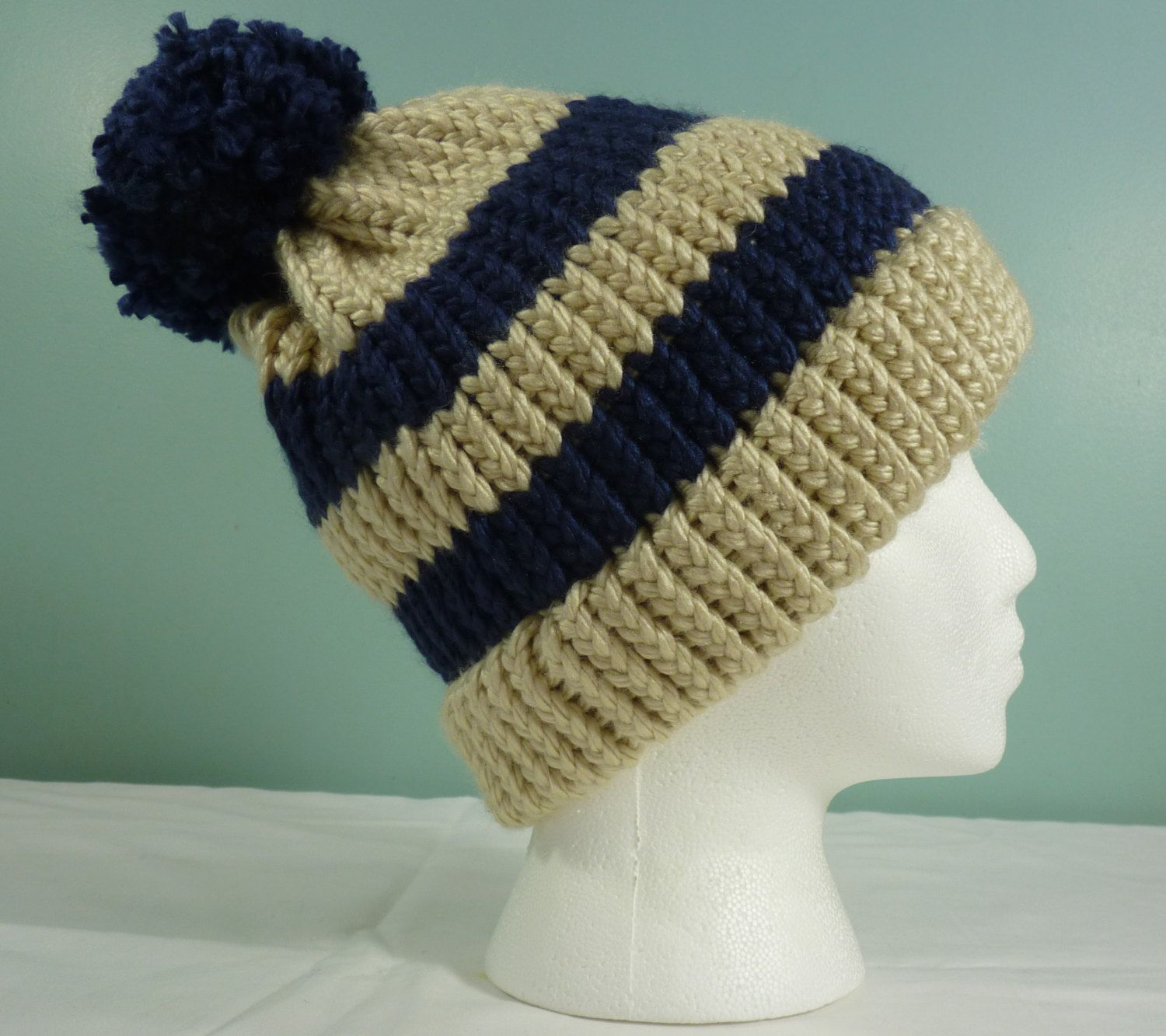Cream and Navy Stripe Hat, Unisex Knit Hat, Mens Winter Hat, Stocking Cap, Wo...