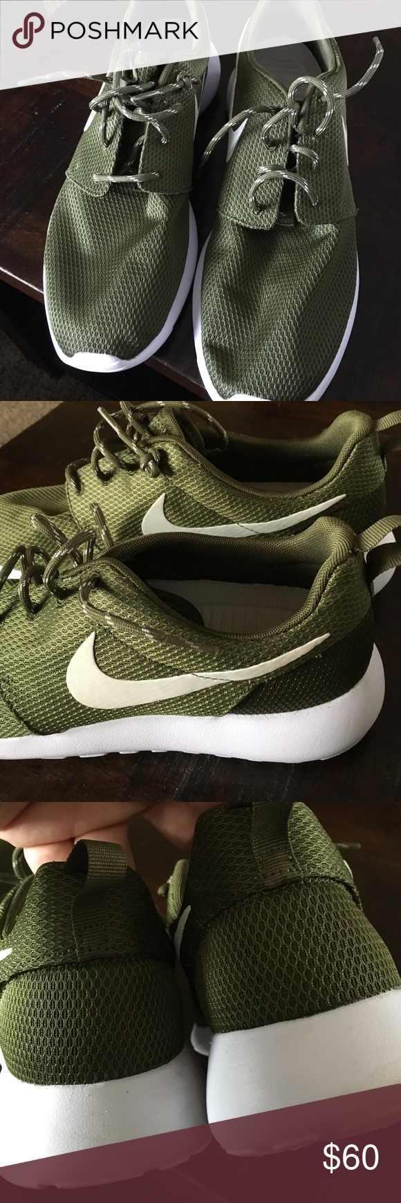 Nike olive green Roshe size 11 excellent condition Nike women size 11 Roshe  olive army green