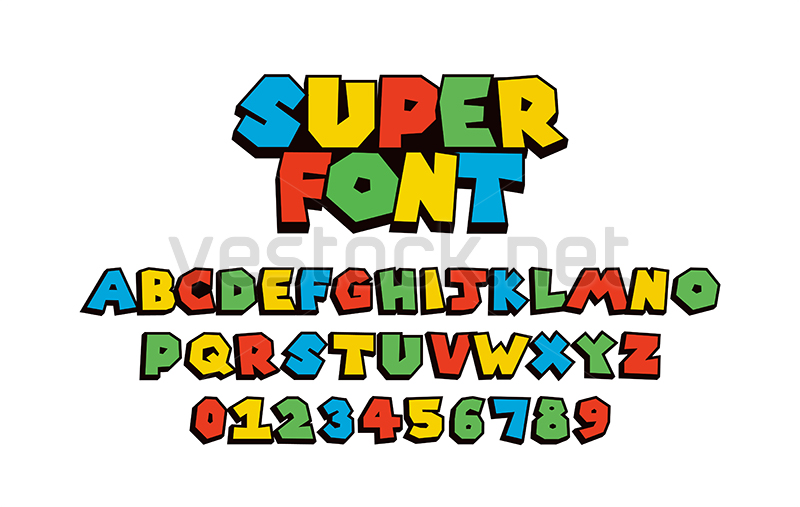 Super Mario Font Vector Of Colorful Modern Font And Alphabet Games T Shirt Merch By Amazon Vestock Super Mario Super Mario Bros Party Mario Bros Party