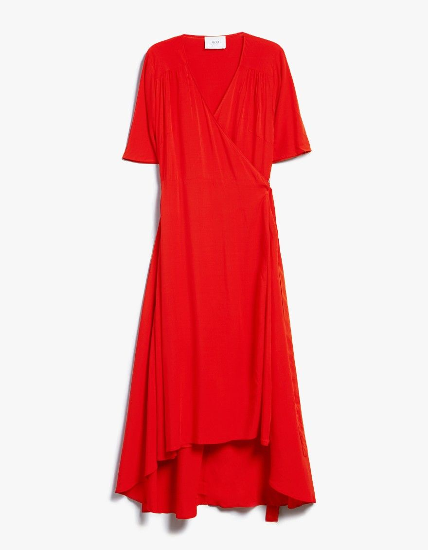 Wrap dress from just female in red vneckline short sleeves with