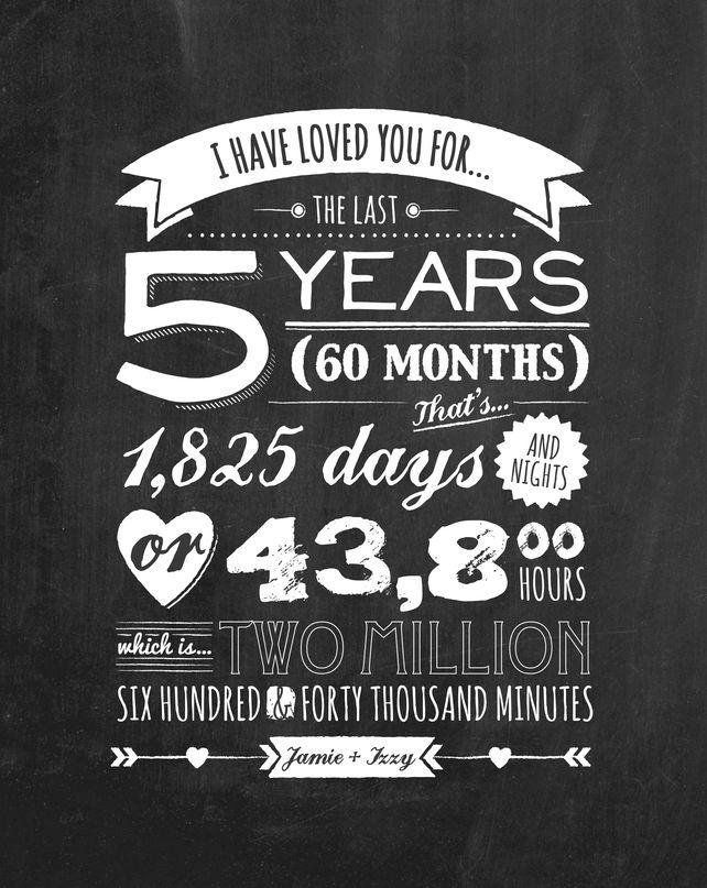Personalised Vintage Blackboard Anniversary Print Anniversary Quotes 5 Year Anniversary Quotes Personalized Anniversary