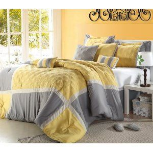 """shelly"""" oversized & overfilled 8 piece yellow & grey comforter set"""