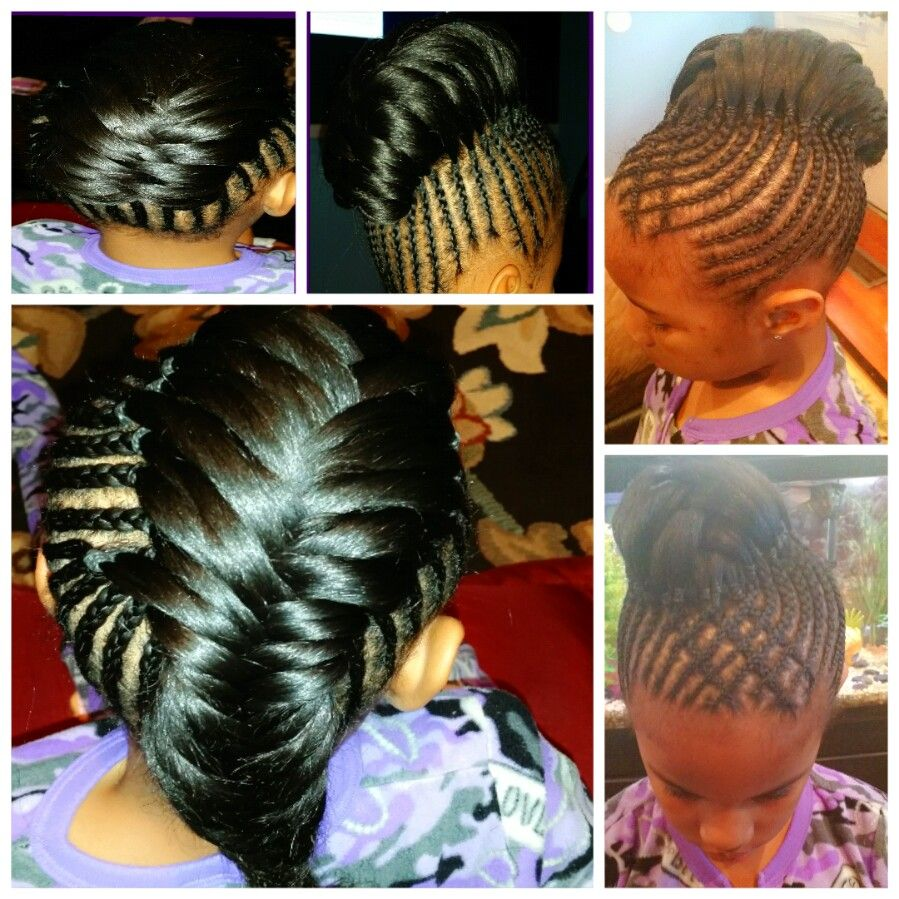 braided upstyle cornrows with fishtail | styles by jamie