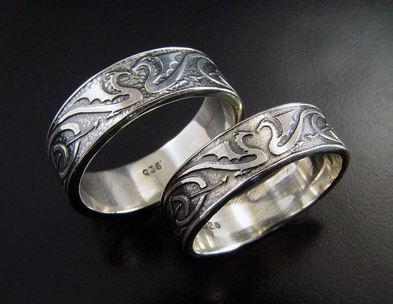 Dragon Wedding Ring Set Silver Celtic Bands Unique Rings His And Hers With Hand Etched Dragons