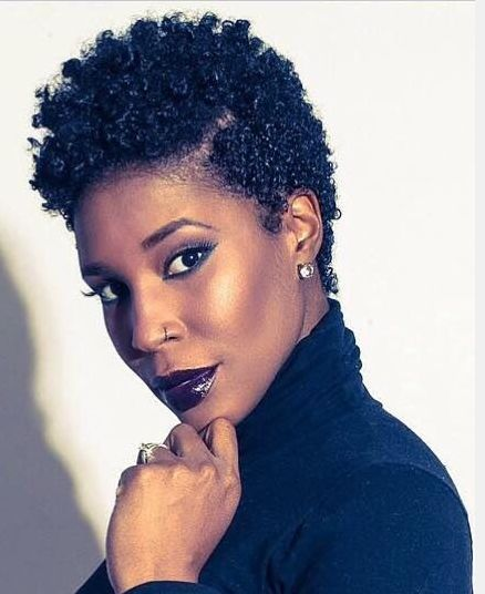 Black Women Natural Hairstyles natural curly fade mohawk hairstyle Short Natural Hairstyles For Women 23