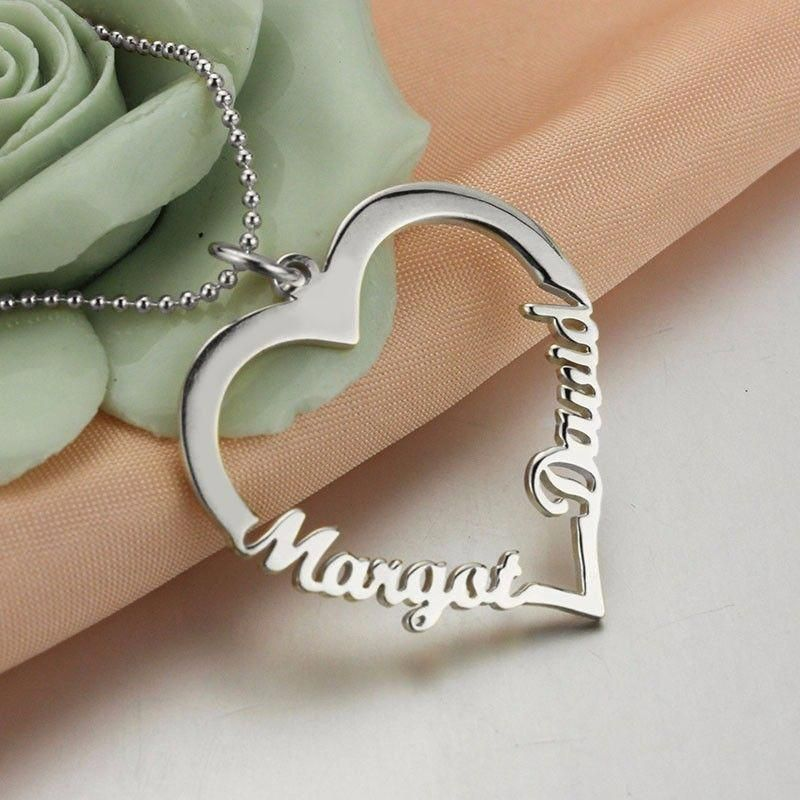 Customized Heart Name Necklace 925 Sterling Silver Customnamenecklace Sterling Silver Heart Pendant Jewelry Necklace