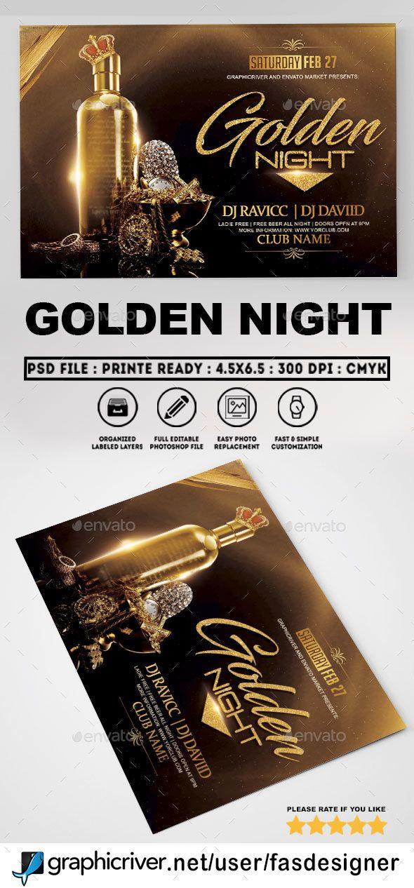 Golden Night Flyer Template Clubs & Parties Events