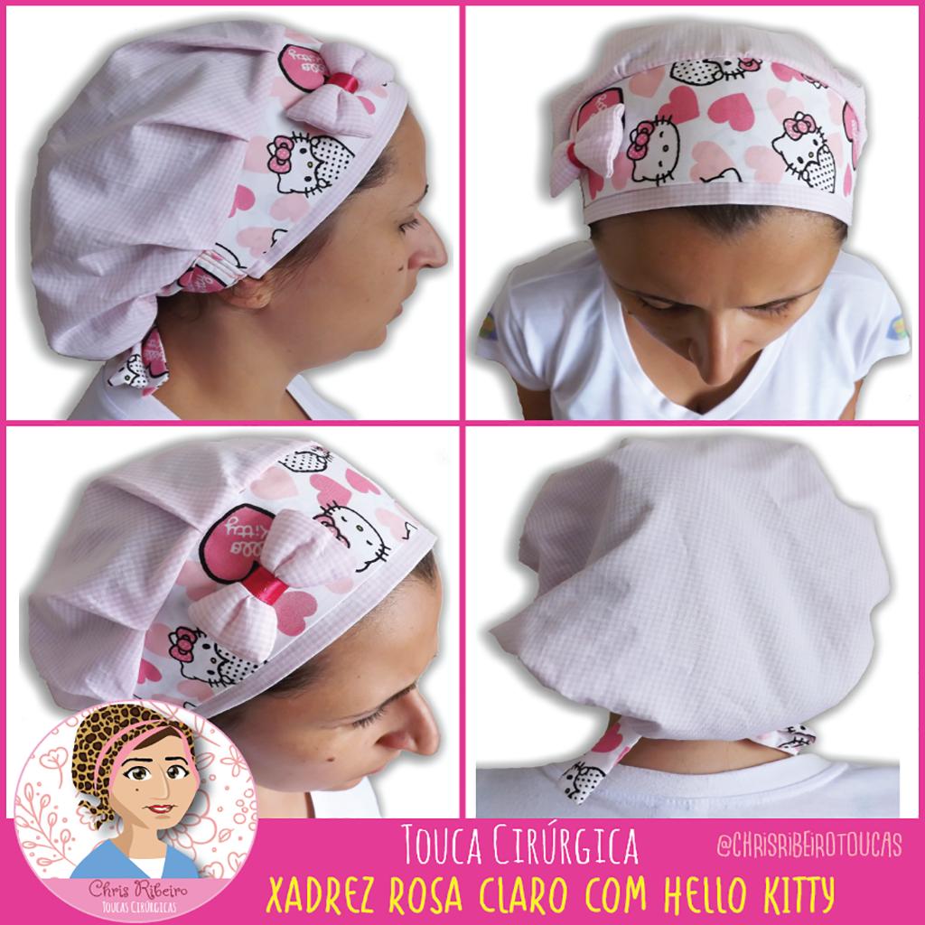 """82fe80d599d7a Touca Cirúrgica """"Xadrez Rosa Claro com Hello Kitty"""""""