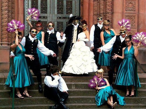 Tracey Michael S Steampunk Venetian Masquerade Wedding Offbeat Bride Masquerade Wedding Mascarade Wedding Bridesmaid