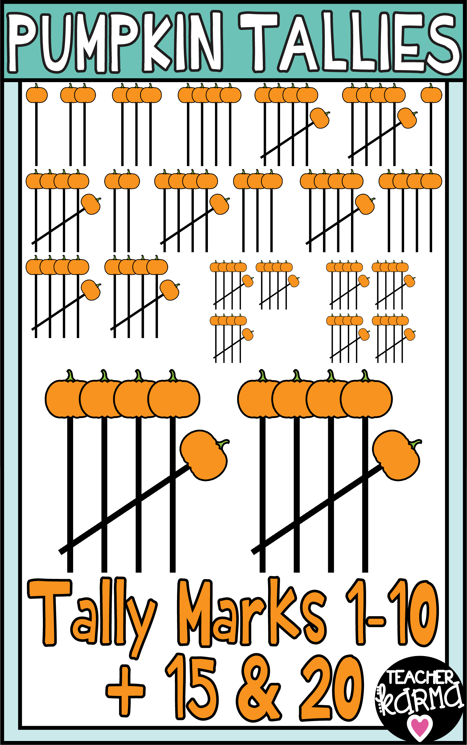 pumpkin tally marks clipart is perfect for your fall halloween and thanksgiving math resources [ 1514 x 2413 Pixel ]