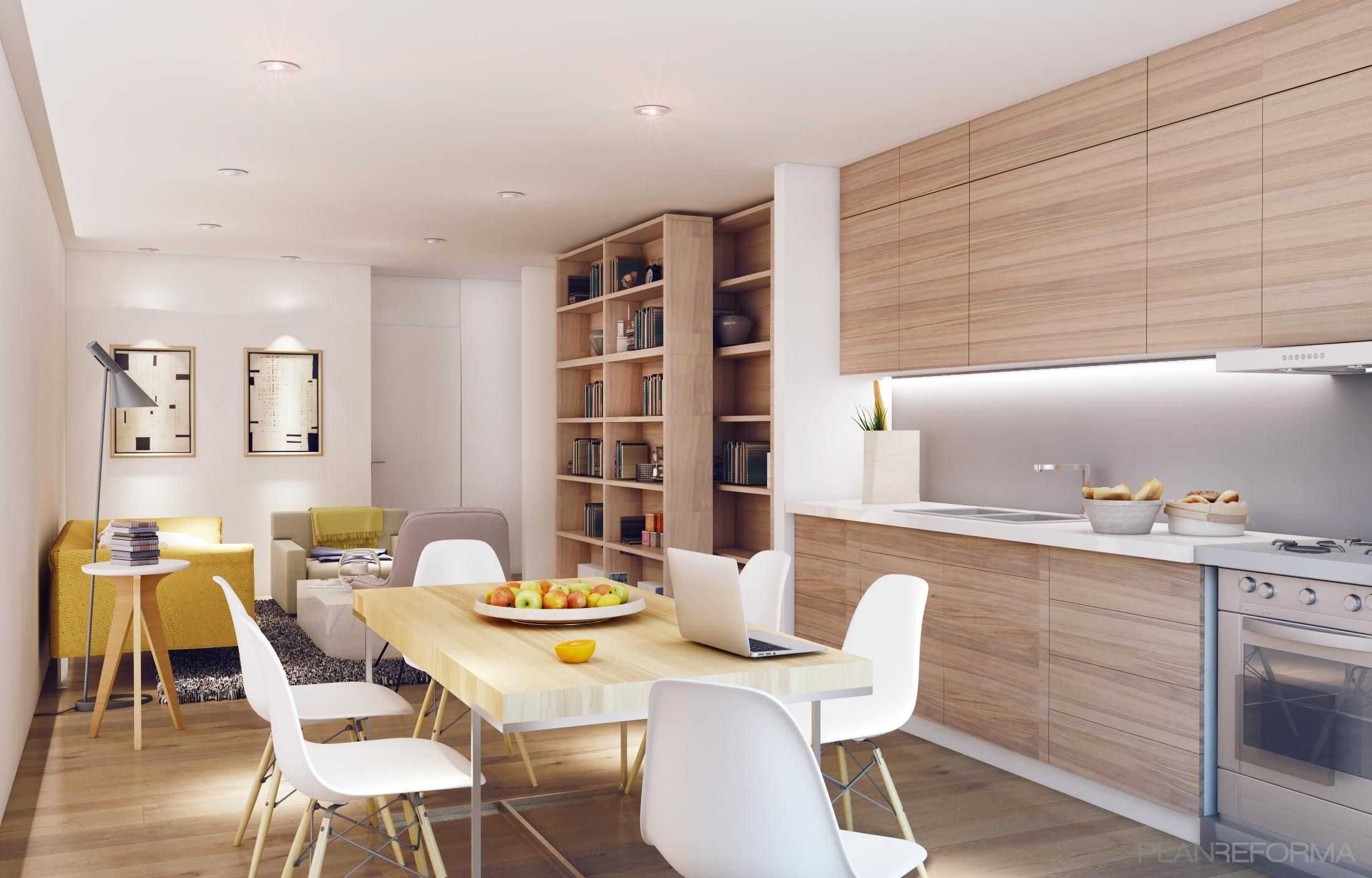 Comedor cocina salon estilo moderno color amarillo for Cocinas estilo moderno