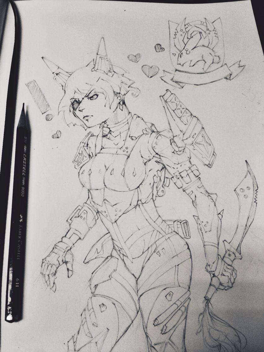 Illustration (cyborg,robot, concept art, sci-fi) :- White rabbit