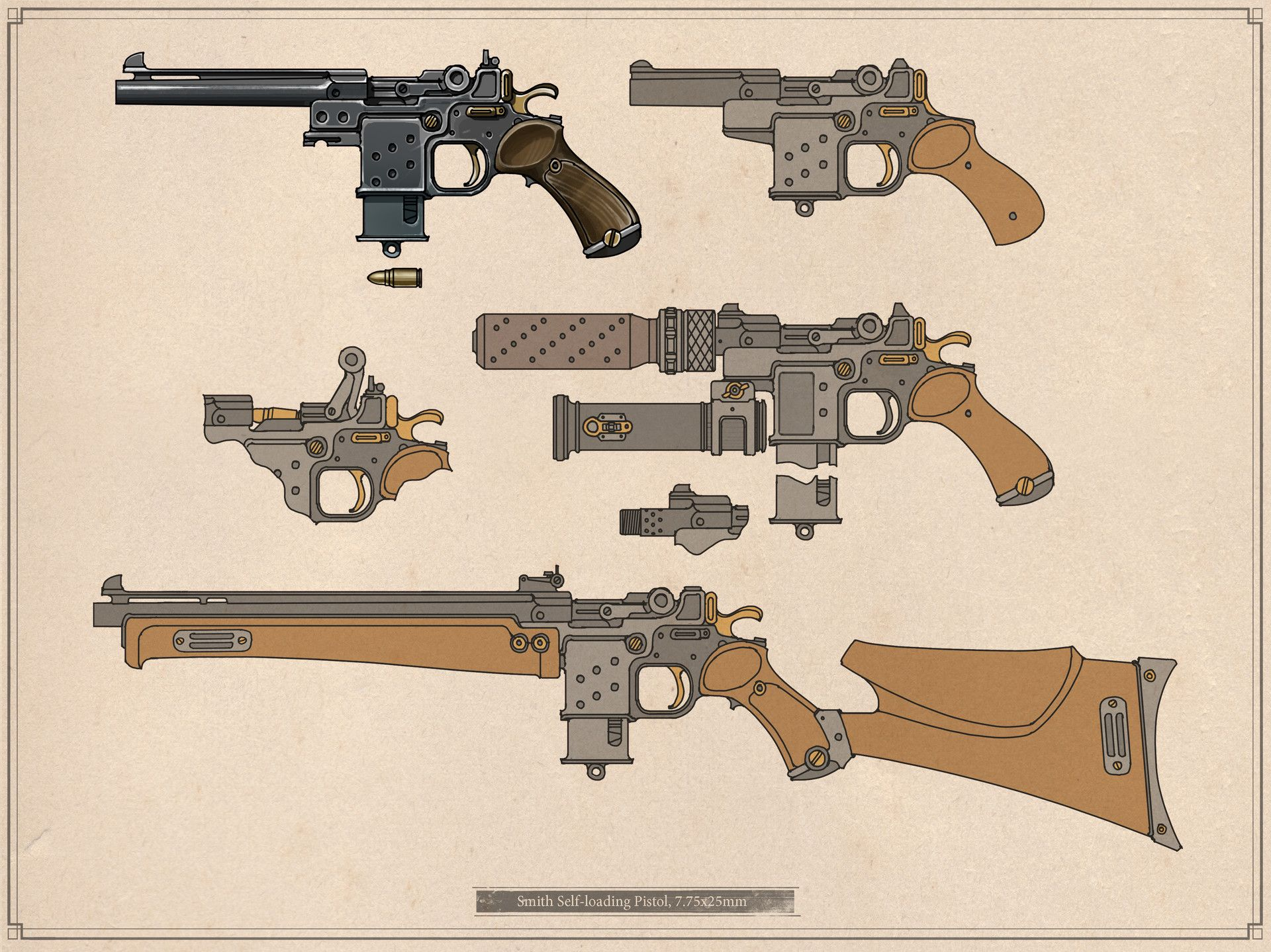 Squad Orchid Ivan Yakushev Arme Steampunk Fusil Epee Dessin